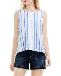 Two By Vince Camuto Stripe Linen Blend Lace-up Back Top - Blue