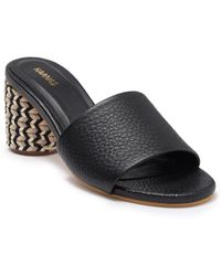Kaanas Tobago Braided Block Heel Leather Sandal - Black