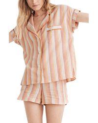 Madewell Rainbow Stripe Bedtime Pajama Top - Multicolor