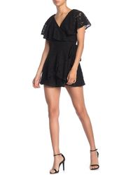 Do+Be Collection Floral Lace Ruffled Wrap Romper - Black