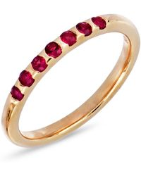 Bony Levy - 18k Rose Gold Scallop Set Red Ruby Stackable Band - Lyst