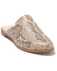 Kenneth Cole Reaction Ruthie Snake Embossed Leather Mule Flat - Natural
