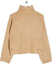 TOPSHOP Crop Funnel Neck Sweater - Natural