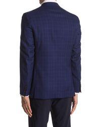 Ted Baker Jarrett Blue Plaid Two Button Notch Lapel Wool Sport Coat