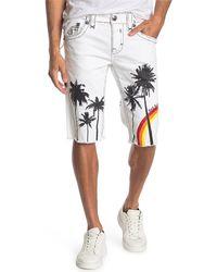 Rock Revival Printed Raw Hem Shorts - White