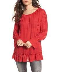 Hinge Tie Back Tunic - Red