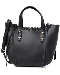 Giorgio Costa Leather Braided Satchel Bag - Black