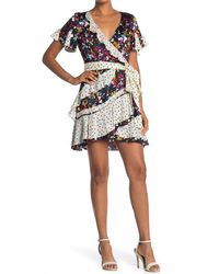 Tanya Taylor Bianka Mixed Print Wrap Dress - Black