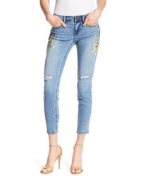 Dex - Floral Print Super Skinny Ankle Jeans - Lyst