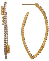 Freida Rothman - Baroque Blues Cz Accent Marquise 45mm Hoop Earrings - Lyst