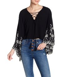 Roffe Accessories - Lace Up Embroidered Top - Lyst