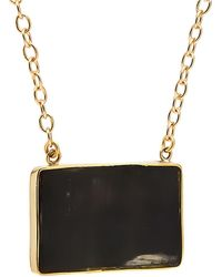 Soko Earth Inlay Brass And Horn Dainty Necklace - Black