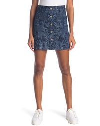 7 For All Mankind Zebra Print Button Front Skirt - Blue