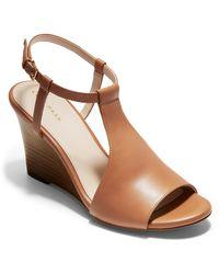 Cole Haan Maddie Open Toe Wedge Sandal - Brown