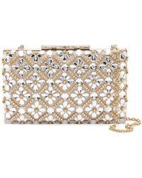 Sondra Roberts - Floral Crystal Embellished Satin Clutch - Lyst