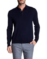 Brooks Brothers Merion Wool Lightweight Button Sweater - Blue