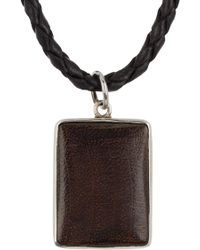 Link Up Sterling Silver & Black Wood Rectangle Pendant Leather Necklace - Metallic