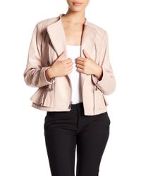 MICHAEL Michael Kors - Ruffle Hem Leather Moto Jacket - Lyst