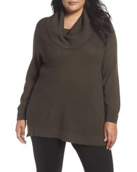 Sejour - Cowl Neck Ribbed Trim Pullover (plus Size) - Lyst