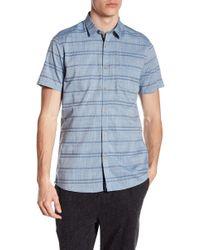 Indigo Star - George Short Sleeve Woven Jacquard Stripe Tailored Fit Shirt - Lyst