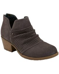 Earth Amanda Suede Ruched Boot - Wide Width - Grey