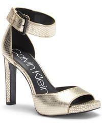 Calvin Klein - Marinda Snake Print Leather Sandal - Lyst