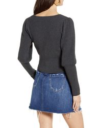 Astr Long Sleeve Square Neck Sweater - Gray