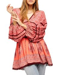 Free People Luna Scarf Print Tunic Blouse - Red