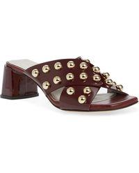 a4cb7ce38a4 Attilio Giusti Leombruni - Studded Block Heel Slide Sandal - Lyst