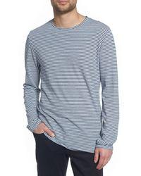 Vince Stripe Long Sleeve Crewneck T-shirt - Blue
