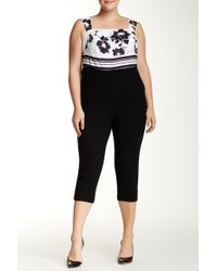 ABS By Allen Schwartz - Printed Top Solid Pant Jumpsuit (plus Size) - Lyst