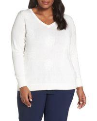 Sejour Dot Pattern Pullover (plus Size) - White