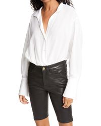FRAME Button Up Shirt Bodysuit - White