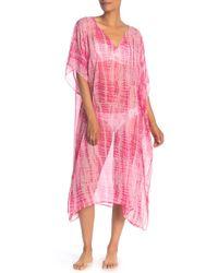 Steve Madden Long Sheer Tie Dye Caftan - Pink