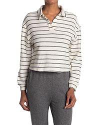 Lush Collared Stripe Long Sleeve Crop Top - Gray
