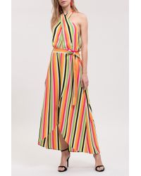 Blu Pepper Halter Crossover Stripe Maxi Dress - Multicolour