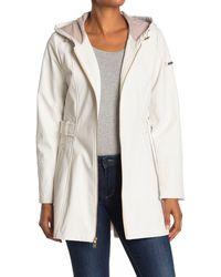 Via Spiga Hooded Zip Soft Shell Raincoat - White