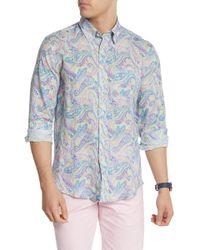 Michael's Swimwear Paisley Print Linen Shirt - Blue