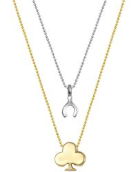 Alex Woo - Sterling Silver & 14k Yellow Gold Wishbone & Club Pendant Necklace - Set Of 2 - Lyst