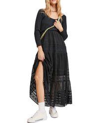 Free People Earth Angel Long Sleeve Maxi Dress - Black