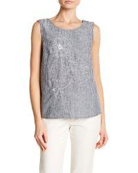 Ellen Tracy - Foldover Back Embroidered Sleeveless Linen Blouse - Lyst