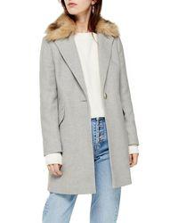 TOPSHOP Monica Faux Fur Collar Coat - Gray