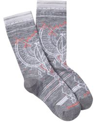 Smartwool Mountain Magpie Printed Crew Socks - Gray