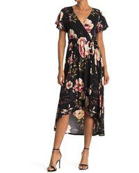 West Kei Surplice High/low Hem Floral Print Dress - Black