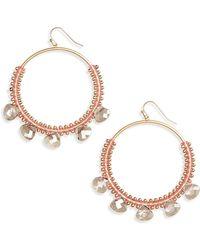 Panacea - Crystal Hoop Earrings - Lyst