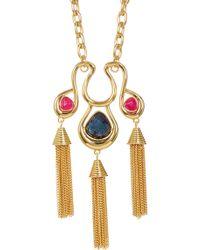 Trina Turk | Semi-precious Stone Tassel Pendant Necklace | Lyst
