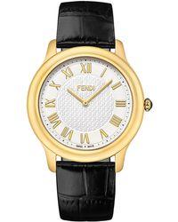 Fendi - Unisex Classico Croc-embossed Leather Strap Watch, 40mm - Lyst