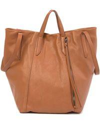 Kooba Leather Zip Tote Bag - Brown