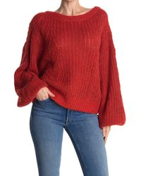 Joie Pravi Cable Knit Pullover Sweater - Red