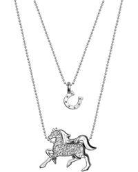 Alex Woo - Sterling Silver Mini Horseshoe & Diamond Horse Pendant Necklace - Set Of 2 - 0.04 Ctw - Lyst